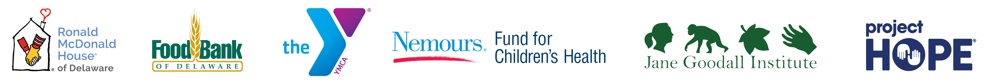 Our clients include the Ronald McDonald House of Delaware, Food Bank of Delaware, YMCA, Nemours Fund for Children's Health, the Jane Goodall Institute, and Project Hope.